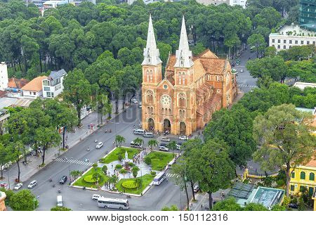 Ho Chi Minh City, Vietnam - October 2nd, 2016: Notre Dame cathedral architecture in a daylife beauty buildings over a hundred years old in Ho Chi Minh City, Vietnam.