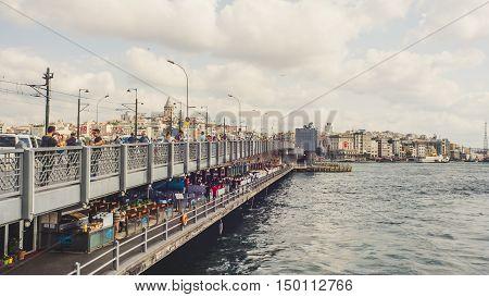 ISTANBUL TURKEY- SEPTEMBER 10-13 2016: People life at Galata bridge.