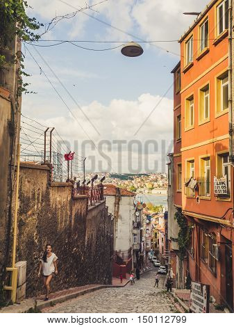 ISTANBUL TURKEY- SEPTEMBER 10-13 2016: Street and city life of Istanbul.