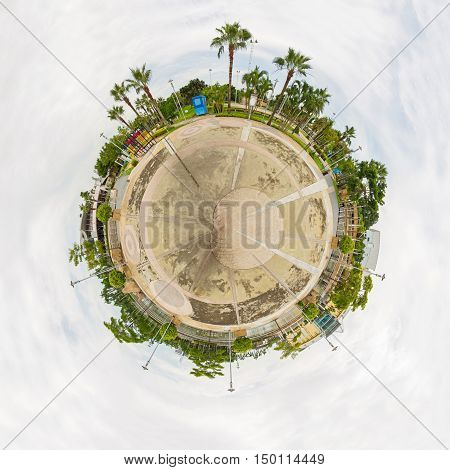 Circle panorama Multi-purpose field in public park