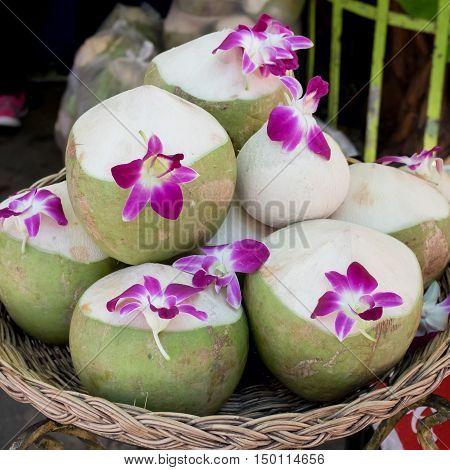 Coconut Water Drink in the big market