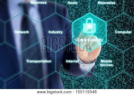 Security expert presses glowing padlock in a hexagon IOT grid cybersecurity concept illustration