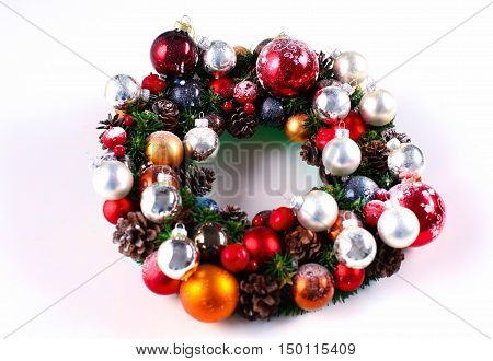 New Year gift on a golden tinsel background boly.