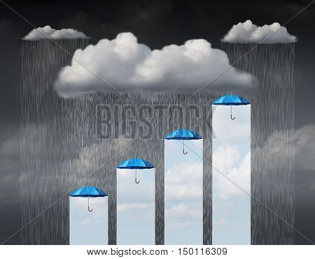 Protection increase as a business concept and weather infochart or infographic as a cloud with rain falling down and a group of umbrellas providing a rise and gain in safety and shelter with 3D illustration elements.