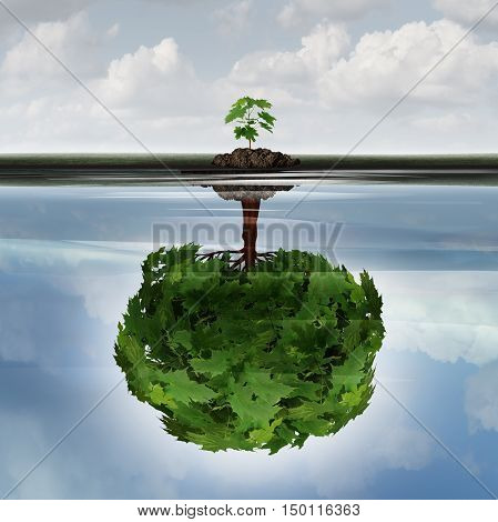 Potential success concept as a symbol for aspiration philosophy idea and determined growth motivation icon as a small young sappling making a reflection of a mature large tree in the water with 3D illustration elements.