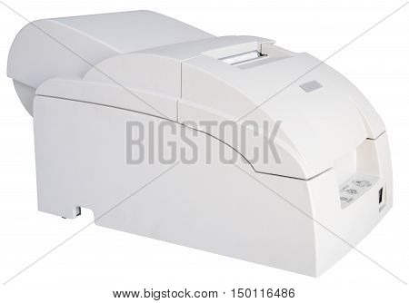 Gray termo printer isolated on the white background isometric view
