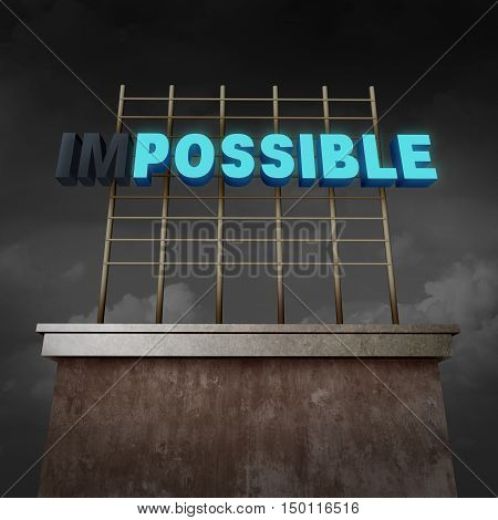 Impossible to possible concept as an illuminated billboard text sign with two letters with lights off as a success metaphor for possibilities and positive success thinking as a 3D illustration.