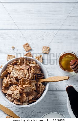 Breakfast Cereal And A Glass Of Fresh Milk.