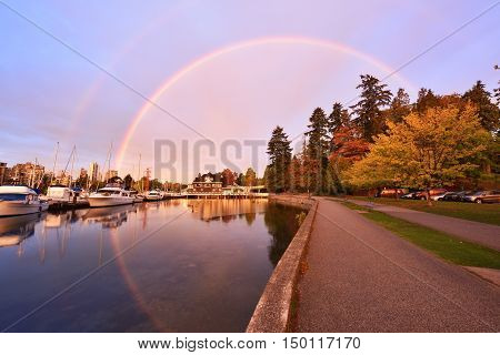 Stunning Morning Rainbow In Stanley Park, Vancouver