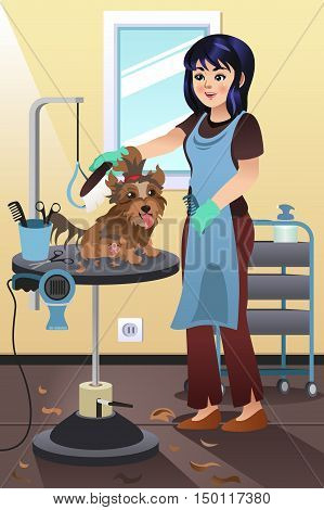 A vector illustration of a Pet Groomer Grooming a Dog at the Salon