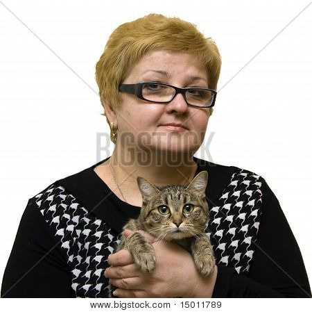 Smiling Woman With A Cat On A White Background