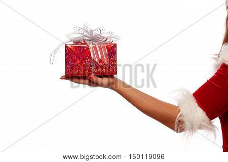 Christmas. Photo hand with red gift box, on a White background, isolated