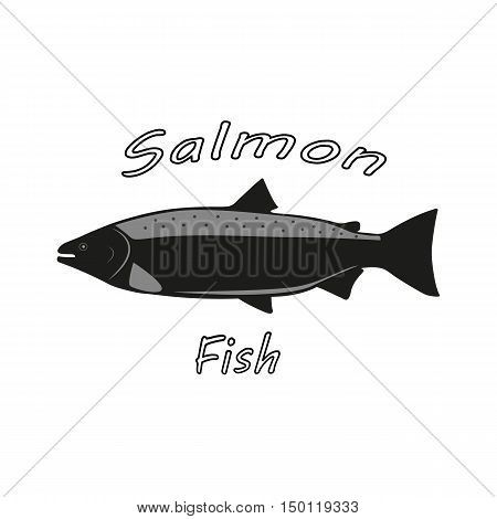 Vector illustration of a salmon fish on isolated white background. Fish side view profile. Logo salmon.