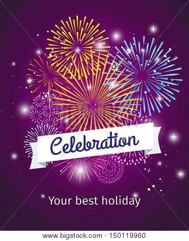 Fireworks background, celebration card or celebration poster template. Vector illustration