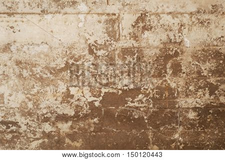texture of wooden formwork stamped on a grunge concrete wall as background