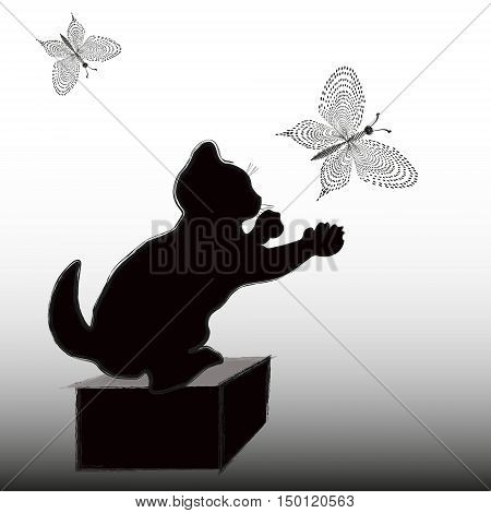 Little kitten catches the butterfly Abstract style silhouette and pointillism drawing sketch hunting mammal a predator insect box rack background eps10 vector illustration Stock