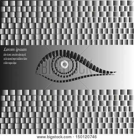 Background and logo design Abstract , author Projects seeing eye with the effect of 2D parallel symmetrically text shadow eps10 vector illustration gray black square rectangle pattern Stock