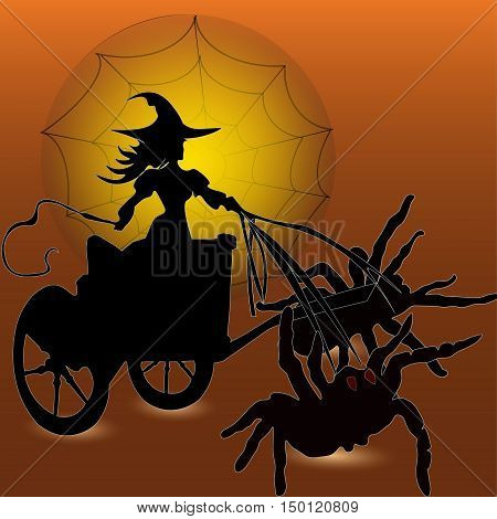 Witch and the cart with a spider Designs Halloween witch riding a wagon, two insect the silhouette style drawing sketch Luna web whip shadow eps10 vector illustration of black, brown stock