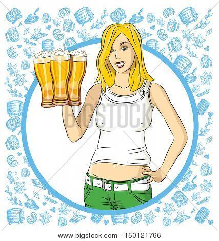 Vector woman on oktoberfest. Octoberfest woman with beer