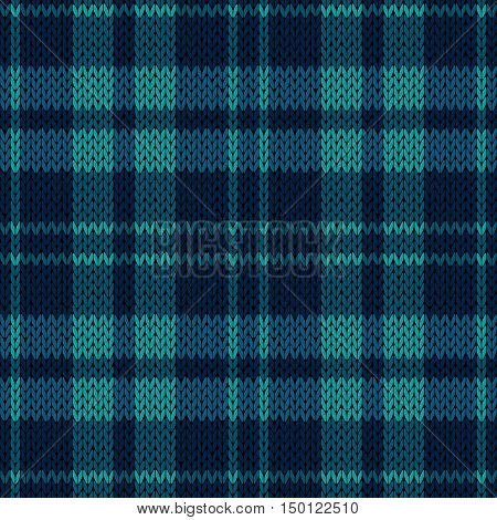 Knitting Seamless Pattern In Various Blue Hues