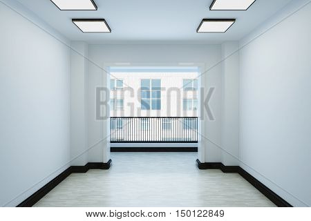 Empty white room with a balcony and interior decoration. The room contains lamps and plinth. 3d illustration