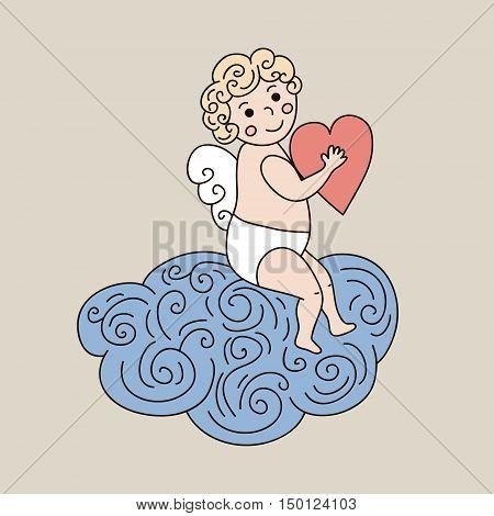 Cute angel on cloud. Vector hand drawn illustration with sleeping angel. Cartoon character angel holding big heart