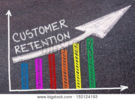 Customer Retention Written Over Colorful Graph And Rising Arrow