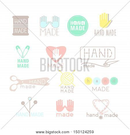 Handmade colorful icons isolated on white. Set of hand made labels badges and logos for design. Handmade workshop logo set. Vector illustration