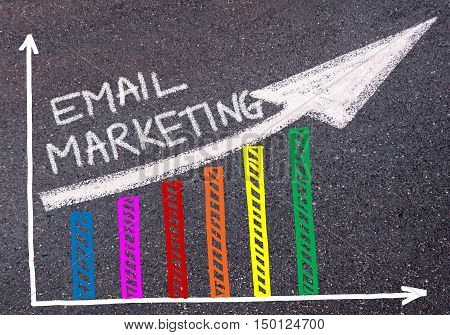Email Marketing Written Over Colorful Graph And Rising Arrow