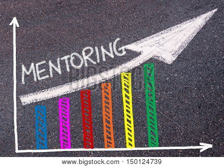 Mentoring Written Over Colorful Graph And Rising Arrow