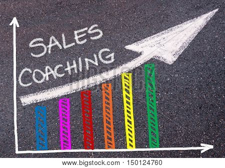 Sales Coaching Written Over Colorful Graph And Rising Arrow