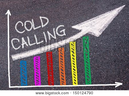 Cold Calling Written Over Colorful Graph And Rising Arrow