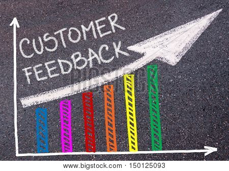 Customer Feedback Written Over Colorful Graph And Rising Arrow