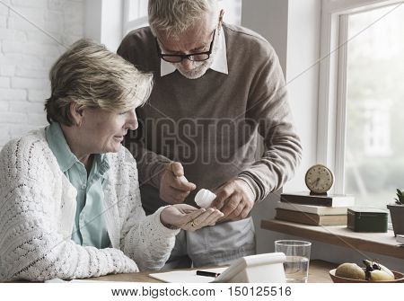 Senior Adult Taking Drugs Concept