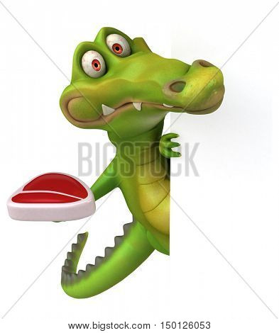 Fun crocodile - 3D Illustration