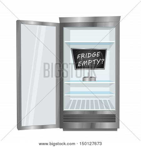 Empty fridge. Commercial freezer with opened door, empty shelves and board with text inside vector illustration isolated on white background. Deficiency of cold drinks in hot weather. Fridge sign. Steel refrigerator or fridge icon. Open fridge with empty