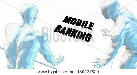 Mobile Banking Discussion and Business Meeting Concept Art 3D Render