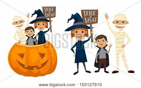 Halloween kids costumes mummies, vampire and witches are sitting in a pumpkin with sign Trick or Treat. Halloween pumpkin. Kids in Halloween festive design concept. Halloween concept. All Hallows Evening. Halloween costume. Isolated halloween kids.