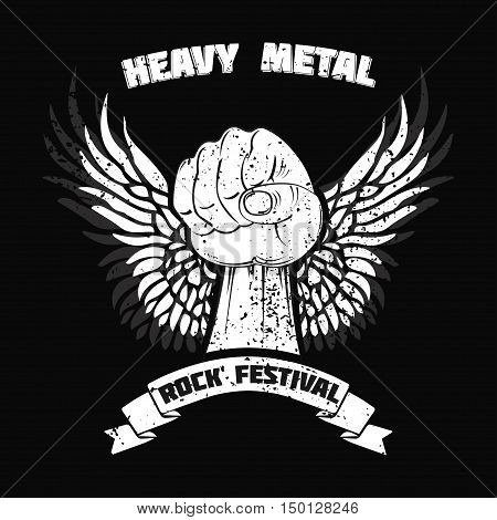 t-shirt graphic design, printed text: heavy metal, white fist with the wings in a black background, vector