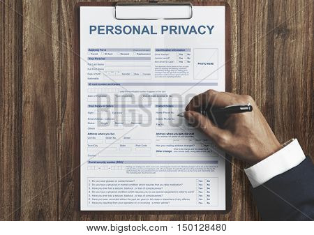 Personal Privacy Form Contract Concept