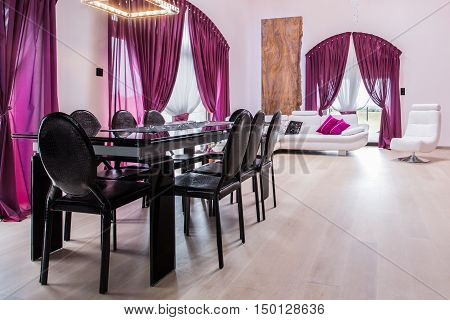 Dining Area With Dark Table