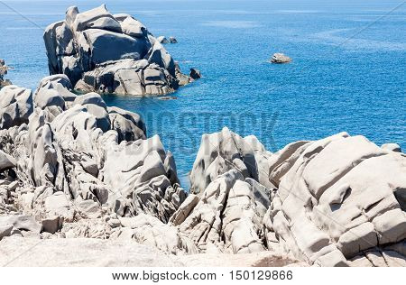 Ocean and rocky seascape in Capo Testa in Sardinia