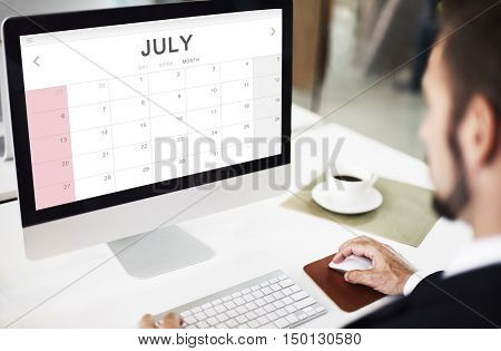 July Monthly Calendar Weekly Date Concept
