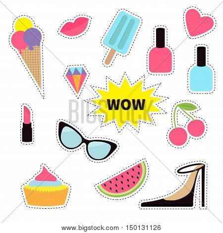 Quirky cartoon sticker patch badge set. Fashion pin. Lipstick heart rainbow cloud cupcake diamond ice cream watermelon lips cherry sunglasses Dash line contour Isolated Flat Vector
