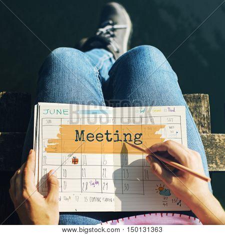 Meeting Agenda Planner Reminder Calendar To Do Concept