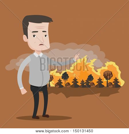 Frustrated man standing on the background of a big forest fire. Mature caucasian man pointing at forest in flame. Concept of environmental destruction. Vector flat design illustration. Square layout.