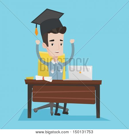 Graduate with raised hands sitting at the table with laptop and diploma. Student in graduation cap using laptop for education. Concept of graduation. Vector flat design illustration. Square layout