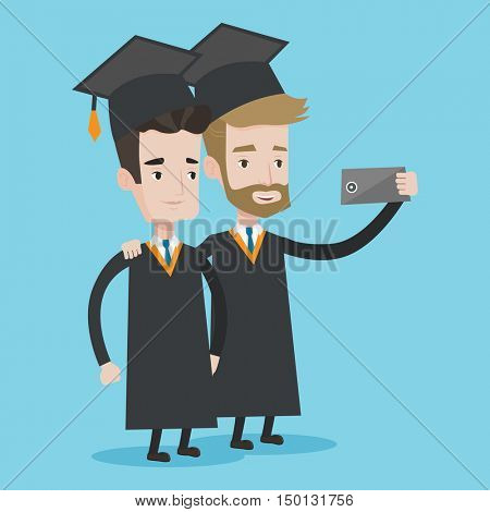 Cheerful graduates in cloaks and graduation caps making selfie. Excited graduates taking photo with cellphone. Concept of education and graduation. Vector flat design illustration. Square layout.