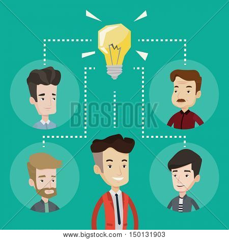 Business partners working at business innovations. Business people discussing business ideas. Group of business people connected by one idea light bulb. Vector flat design illustration. Square layout.