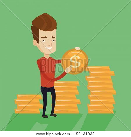 Wealthy businessman standing on the background of stacks of gold coins. Successful caucasian businessman showing dollar coin. Successful business concept. Vector flat design illustration.Square layout